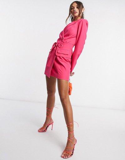 Rosa donna Vestito stile blazer allacciato in vita rosa - Lavish Alice
