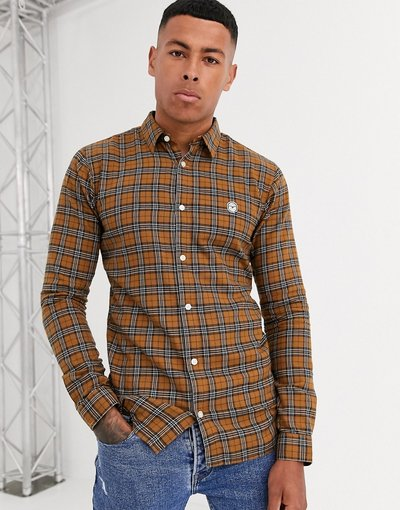 Camicia Giallo uomo Camicia slim a quadri - Le Breve - Giallo