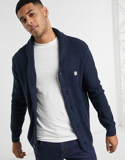 Blu navy uomo Cardigan in maglia a coste blu navy - Le Breve