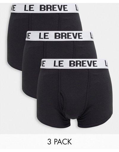 Intimo Nero uomo Confezione da 3 boxer aderenti neri con fascia in vita bianca - Le Breve - Nero
