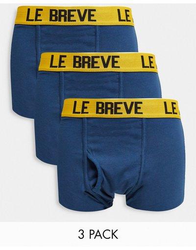 Intimo Blu uomo Confezione da 3 paia di boxer aderenti blu con elastico in vita giallo - Le Breve