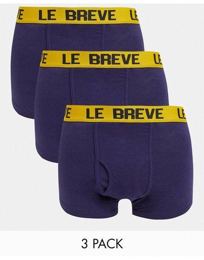 Intimo Blu navy uomo Confezione da 3 paia di boxer aderenti blu con fascia in vita gialla - Le Breve - Blu navy