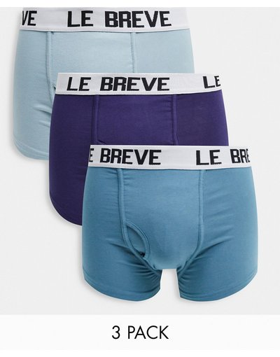 Intimo Multicolore uomo Confezione da 3 paia di boxer aderenti grigio, blu navy e blu - Multicolore - Le Breve