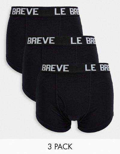 Intimo Nero uomo Confezione da 3 paia di boxer aderenti neri - Le Breve - Nero