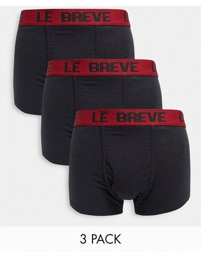 Intimo Nero uomo Confezione da 3 paia di boxer aderenti neri con fascia in vita rossa - Le Breve - Nero