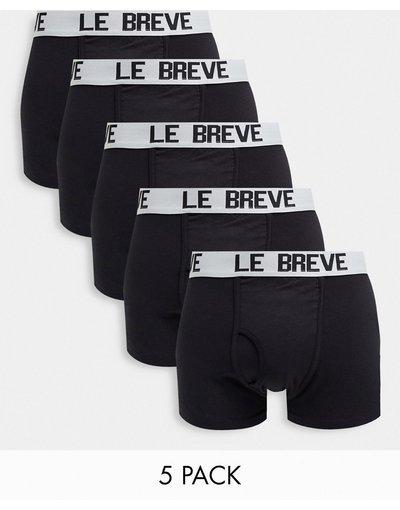 Intimo Nero uomo Confezione da 5 boxer aderenti neri con fascia in vita bianca - Le Breve - Nero
