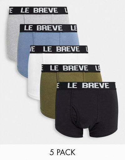 Intimo Multicolore uomo Confezione da 5 paia di boxer aderenti multi con fascia in vita nera - Multicolore - Le Breve
