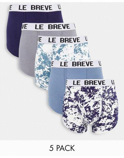 Intimo Blu uomo Confezione da 5 paia di boxer aderenti tie - dye e tinta unita - Le Breve - Blu