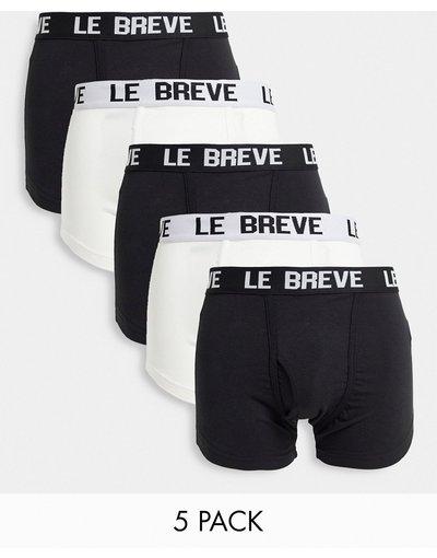 Intimo Nero uomo Confezione da cinque paia di boxer aderenti neri e bianchi - Le Breve - Nero