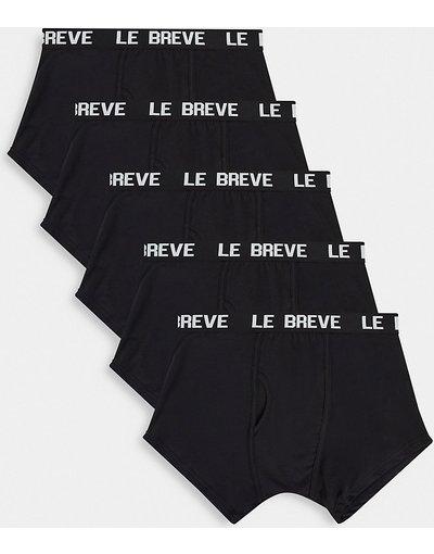 Intimo Nero uomo Confezione da 5 paia di boxer aderenti neri con fascia in vita nera - Le Breve Plus - Nero