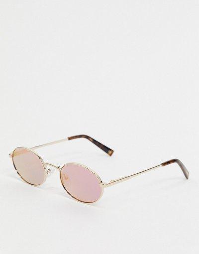 Occhiali Oro uomo Occhiali da sole rotondi con lenti a specchio oro - Le Specs