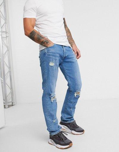 Jeans Blu uomo Jeans dritti lavaggio stone wash chiaro bleu eyes invecchiato - 501'93 - Levi's - Blu