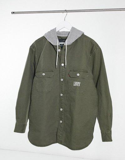 Camicia Verde uomo Camicia con cappuccio in twill color verde oliva scuro - Jackson - Levi's