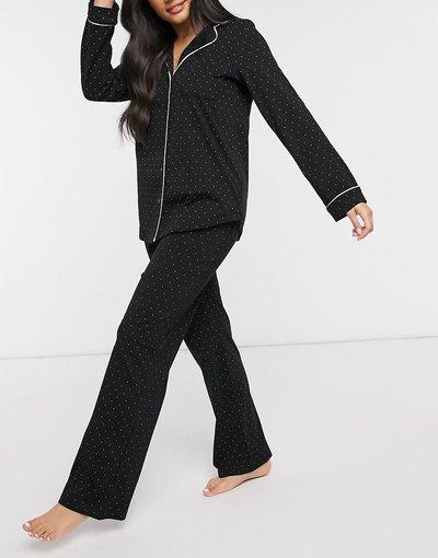 Pigiami Nero donna Pigiama lungo a pois con rever in cotone organico, colore nero - Lindex