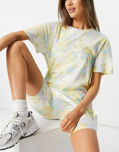 Pigiami Multicolore donna shirt oversize e leggings corti in cotone organico tie - Completo con T - dye multicolore - SoU Katie - Lindex