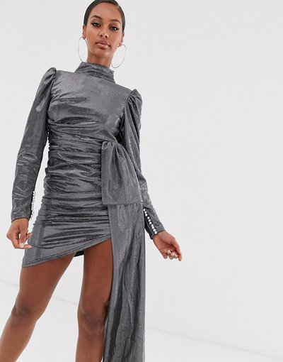 Argento donna Vestito a maniche lunghe arricciato argento con nodo sul davanti - Lioness - Empire