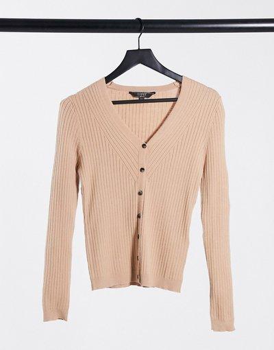 Cuoio donna Cardigan skinny in maglia a coste color cammello - Lipsy - Cuoio