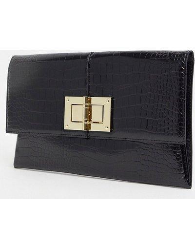 Portafoglio Nero donna Pochette nero coccodrillo - Lipsy