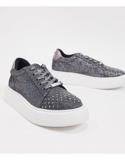 Scarpa bassa Nero donna Sneakers flatform glitter nere - Lipsy - Nero