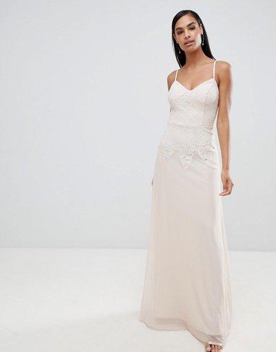 Crema donna Vestito con spalline sottili decorato - Lipsy - Crema