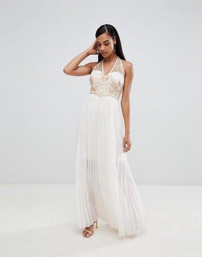 Crema donna Vestito lungo a pieghe con dettaglio decorato - Lipsy - Crema