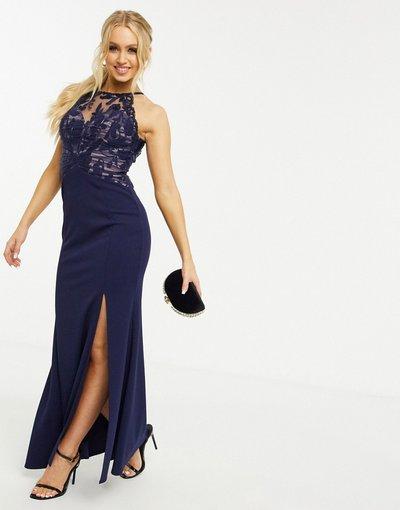 Blu navy donna Vestito lungo con inserti in pizzo blu navy - Lipsy