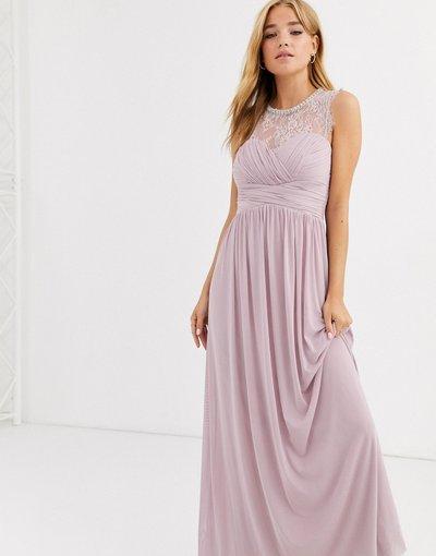 Eleganti lunghi Viola donna Vestito lungo lavanda arricciato con carré di pizzo e collo decorato - Lipsy - Viola