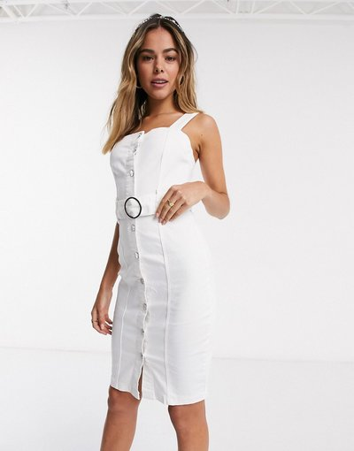 Eleganti pantaloni Bianco donna Vestito midi di jeans bianco - Lipsy
