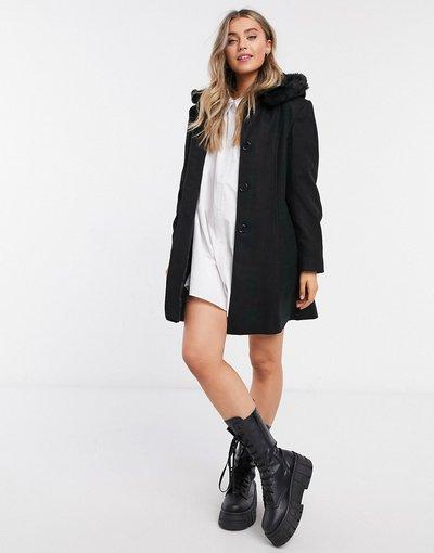 Nero donna Cappotto con cappuccio nero - Liquorish