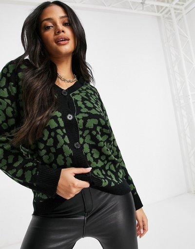 Multicolore donna Cardigan verde e nero in stampa leopardata - Multicolore - Liquorish