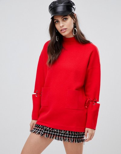 Rosso donna Maglione lungo con tasche sul davanti e laccetti sulle maniche - Liquorish - Rosso