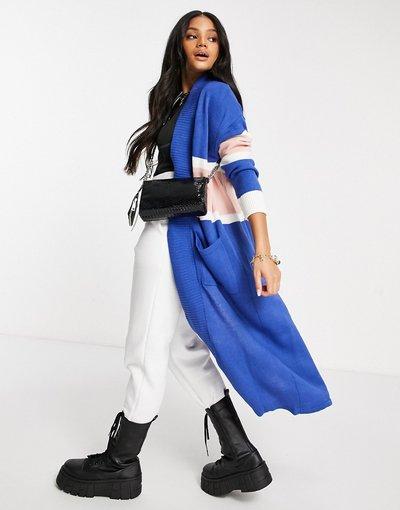 Blu donna Maxi cardigan a righe in stile college blu - Liquorish