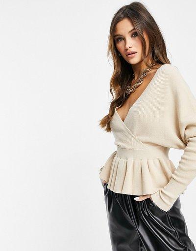 Crema donna Top in maglia incrociato sul davanti con volant color avena - Liquorish - Crema