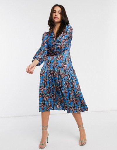 Blu donna Vestito a portafoglio blu a fiori con maniche a palloncino - Liquorish