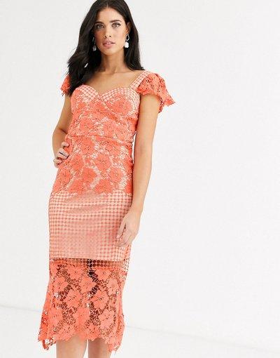 Arancione donna Vestito midi corallo con pannello in pizzo - Liquorish - Arancione