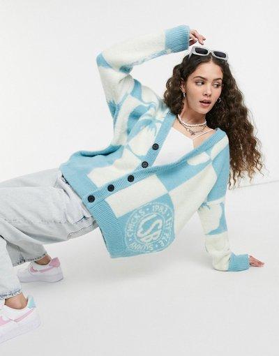 Blu donna Cardigan oversize in maglia ibisco - Litte Sunny Bite - Blu