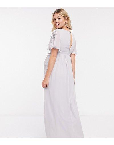 Eleganti lunghi Grigio donna Vestito lungo con decorazioni grigio ghiaccio - Little Mistress Maternity