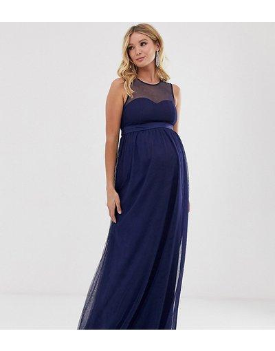 Navy donna Vestito lungo con inserto a rete blu navy - Little Mistress Maternity