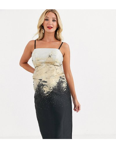 Nero donna Vestito midi in jacquard metallico oro - Little Mistress Maternity - Nero