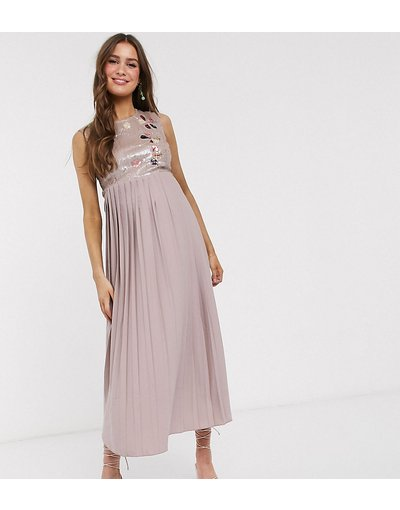 Rosa donna Vestito skater midi con pizzo decorato visone - Little Mistress Maternity - Rosa