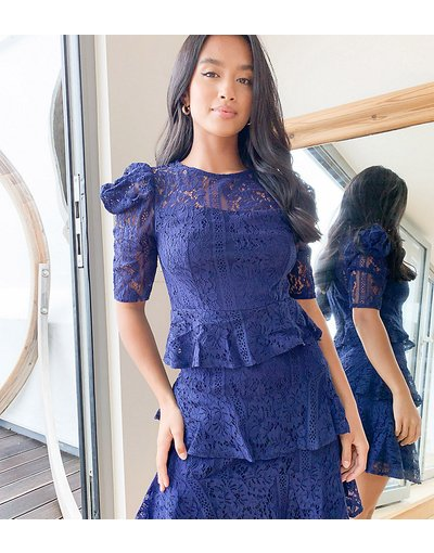 Arancione donna Vestito corto a balze in pizzo blu navy - Little Mistress Petite - Arancione