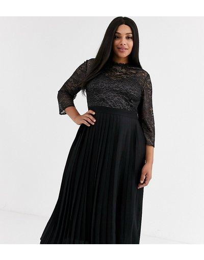 Eleganti longuette Nero donna Vestito a pieghe nero al polpaccio con decorazioni in pizzo metallizzato - Little Mistress Plus