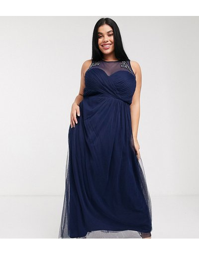 Eleganti lunghi Navy donna Vestito lungo a pieghe con pizzo e decori blu navy - Little Mistress Plus