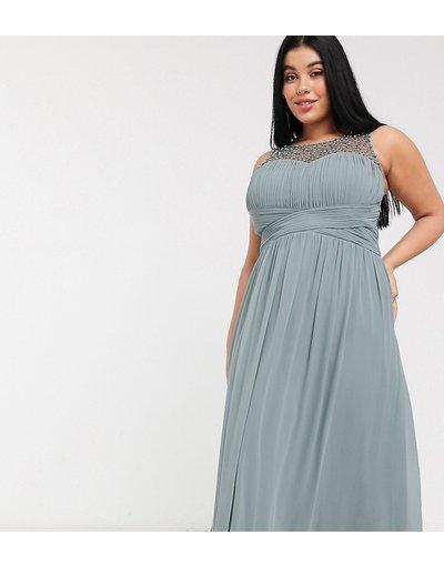 Grigio donna Vestito lungo a pieghe con top decorato grigio - Little Mistress Plus