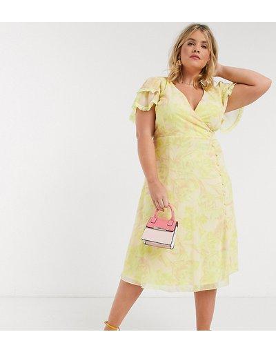 Giallo donna Vestito midi a portafoglio limone a fiori - Little Mistress Plus - Giallo