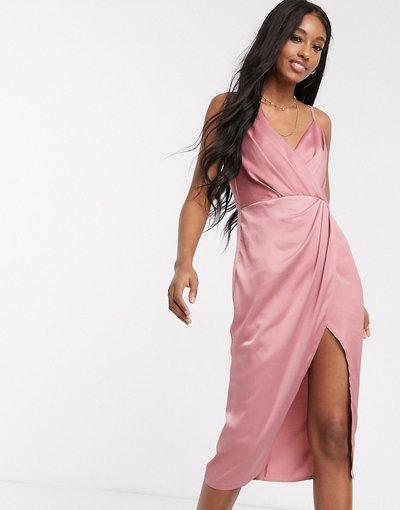 Beige donna Vestito a portafoglio in raso rosa - Little Mistress - Beige