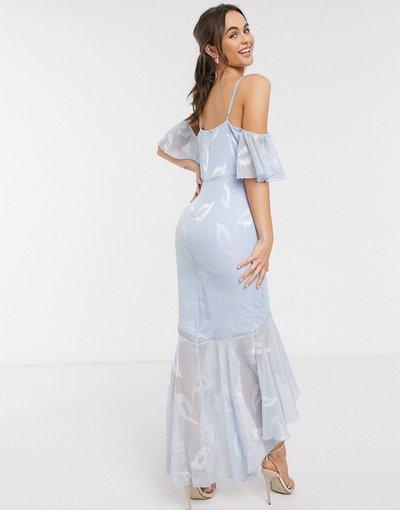 Blu donna Vestito al polpaccio a sirena con volant in jacquard blu - Little Mistress