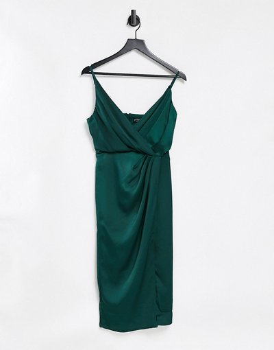 Verde donna Vestito avvolgente in raso verde bosco - Little Mistress