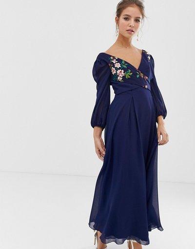 Navy donna Vestito blu navy skater ricamato a fiori con gonna al polpaccio - Little Mistress