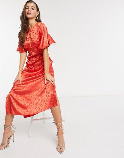 Rosa donna Vestito con gonna al polpaccio in raso arancione intenso - Little Mistress - Rosa